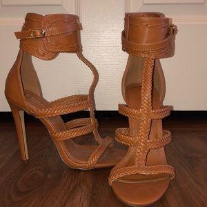 Brown woven strap heels